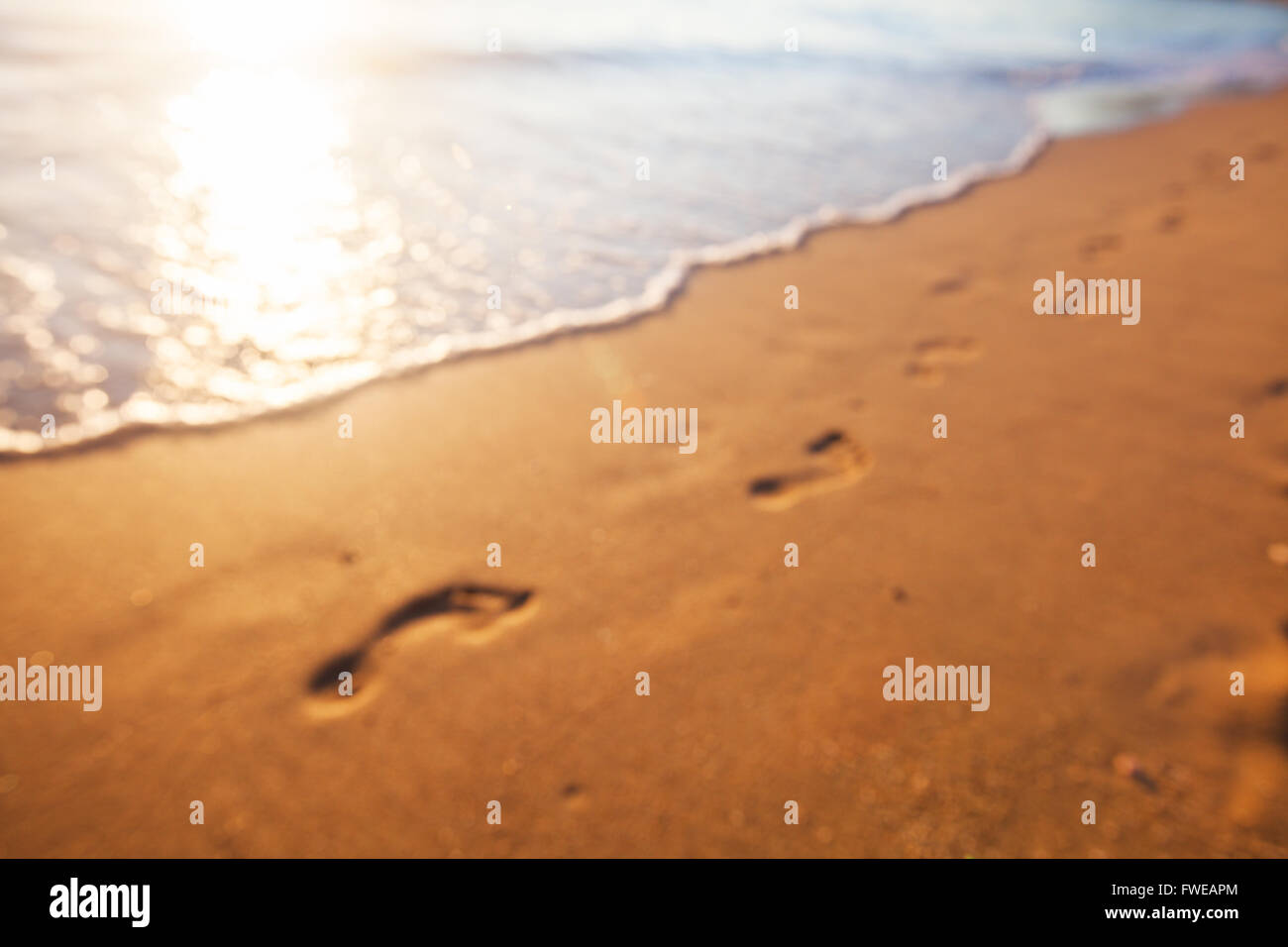 Blurred background of footprints at sunset time - Stock Image
