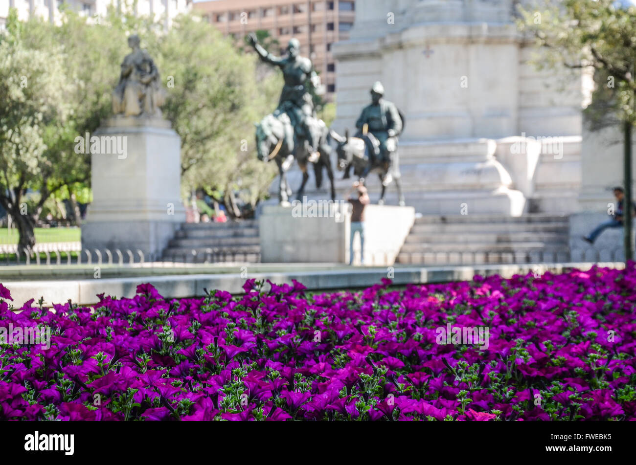 Bronze sculptures of Don Quixote and Sancho Panza.  Plaza de España is a large square, and popular tourist - Stock Image