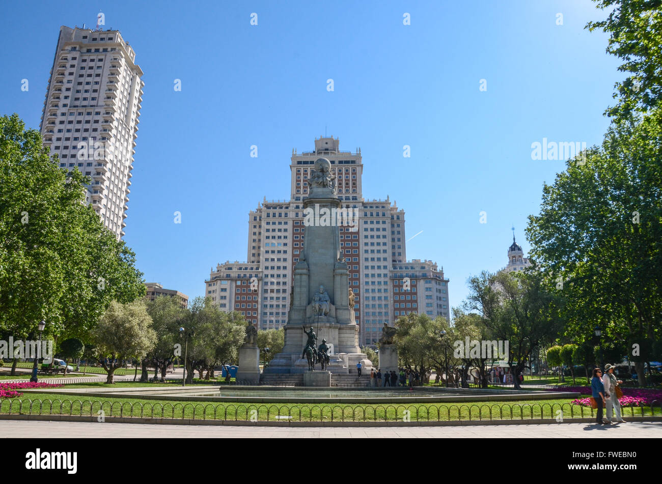 The Cervantes monument.  Plaza de España is a large square, and popular tourist destination, located in central - Stock Image