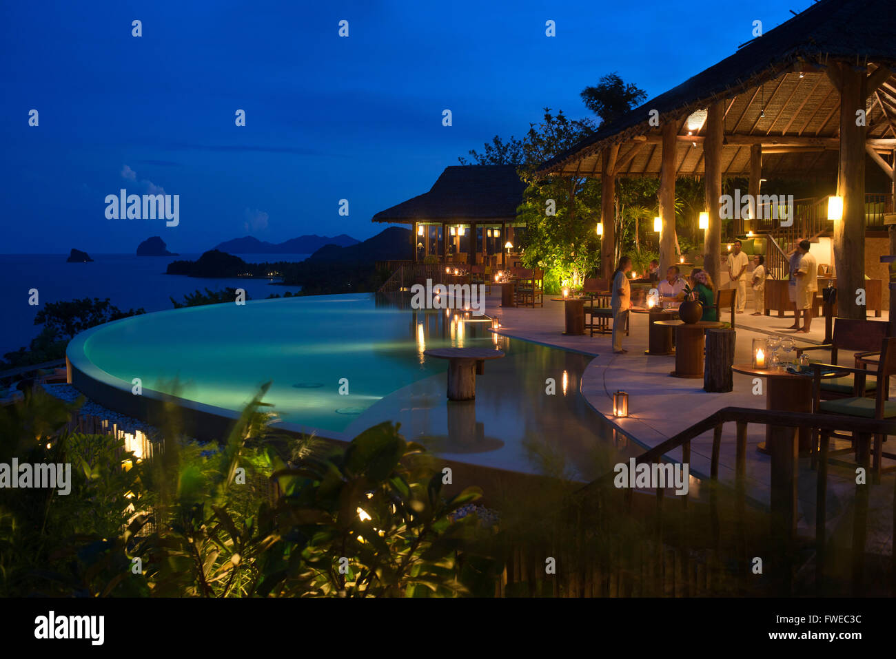Six Senses Resort, Koh Yao Noi, Phang Nga Bay, Thailand, Asia. Restaurant near the swimming pool called The Hilltop - Stock Image