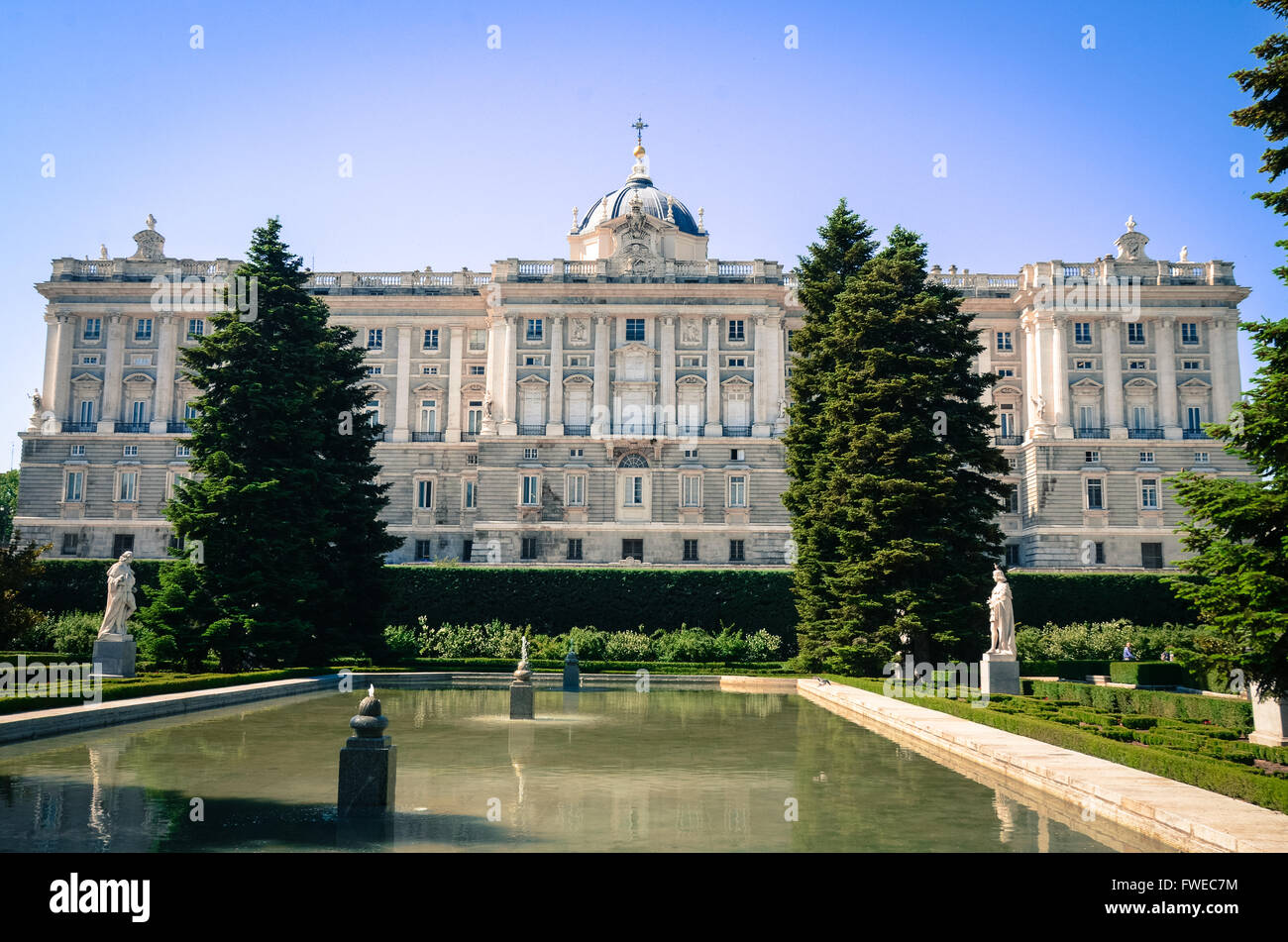The Palacio Real de Madrid is the official residence of the Spanish Royal Family at the city of Madrid, but is only - Stock Image