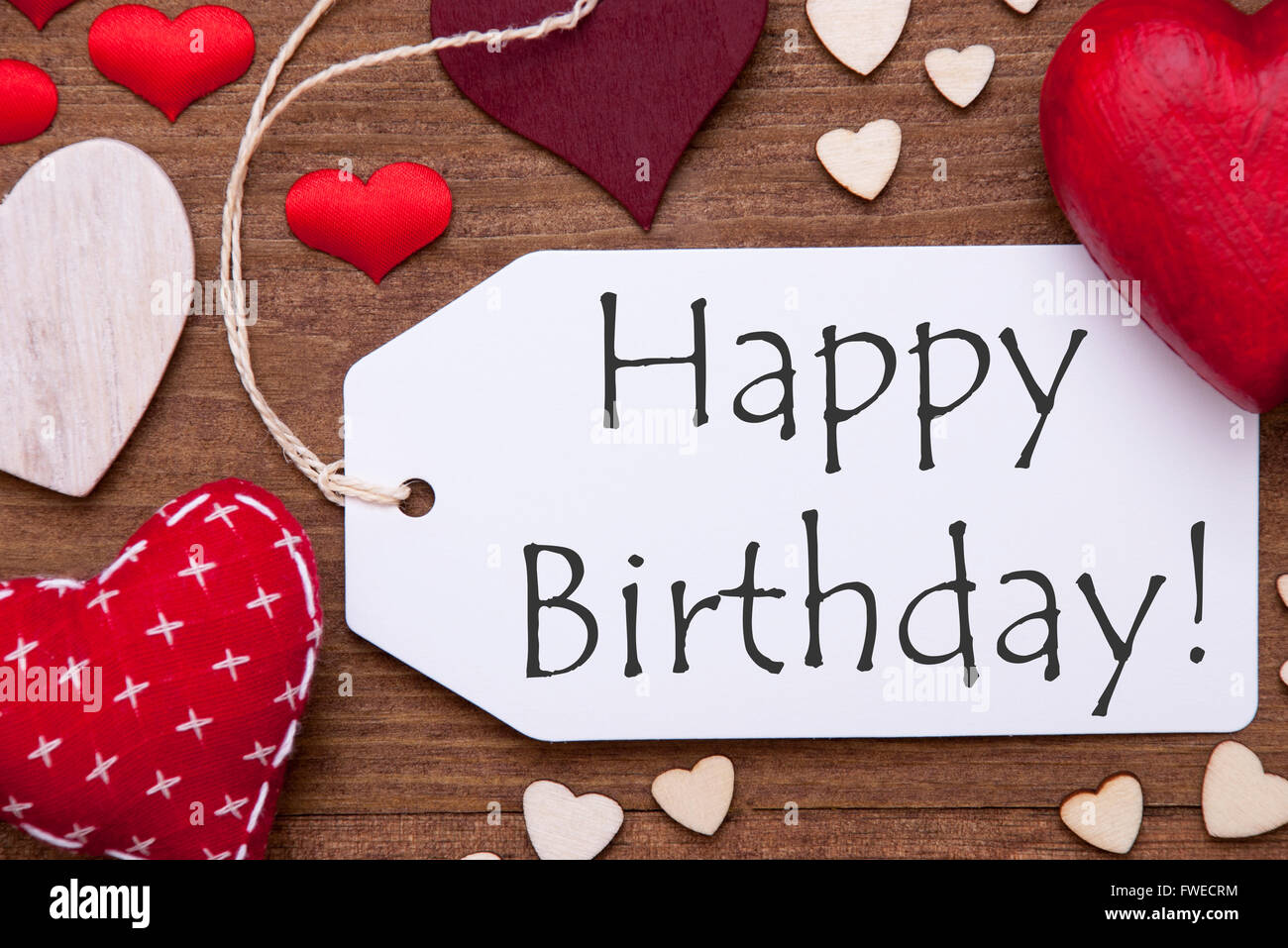 One Label Red Hearts Happy Birthday Macro Stock Photo 101735640