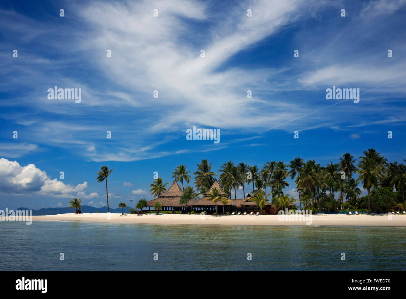 Hotel on a palm-lined beach, Koh Mook Sivalai Beach Resort Hotel, island of Ko Muk or , Thailand, Southeast Asia, - Stock Image