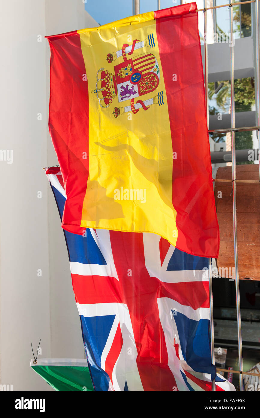 The Spanish and British flags in Alcudia, Mallorca, Balearic Islands, Spain Stock Photo