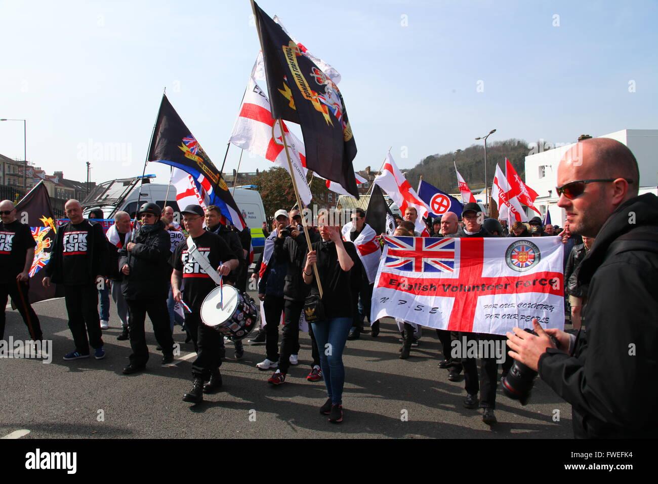South East Alliance far right Unity demonstration. Dover, Kent, UK. - Stock Image
