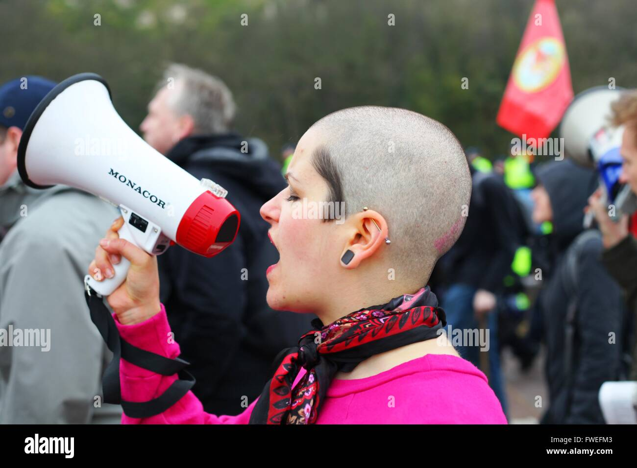 Anti Fascist groups show opposition to South East Alliance far right Unity demonstration. Dover, Kent, UK. - Stock Image
