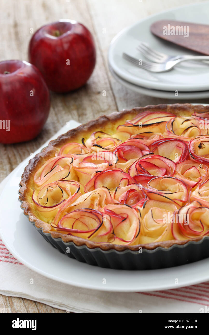 apple tart like bouquet of roses - Stock Image