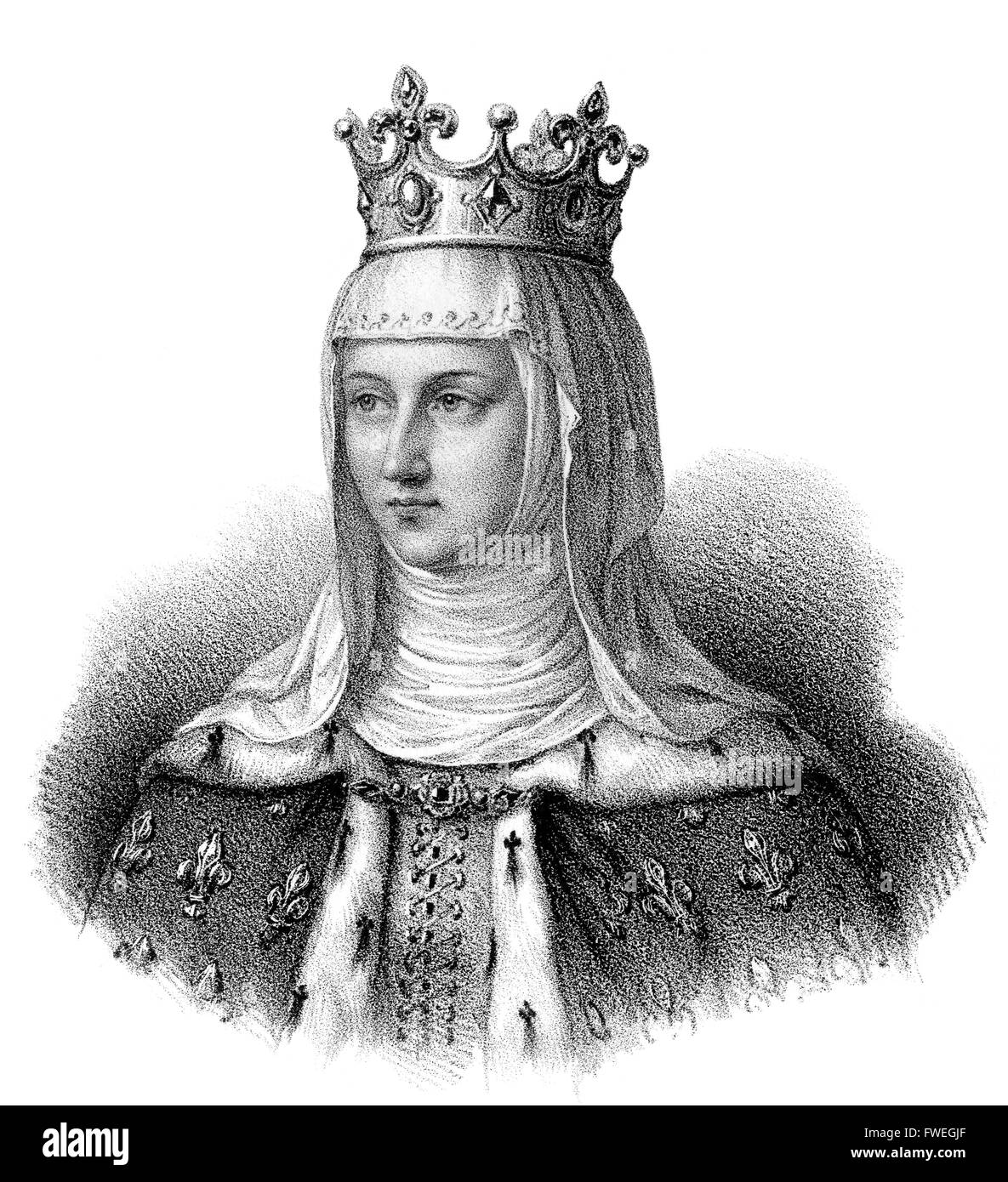 Margaret of Provence,  Marguerite de Provence, Margarete von der Provence 1221-1295, Queen of France as the wife - Stock Image