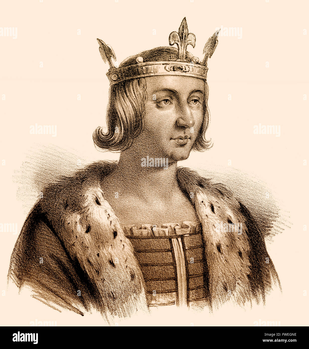 Louis X, Ludwig X., Louis X le Hutin, 1289-1316, called the Quarreler, the  Headstrong, or the Stubborn, King of Navarre as Louis