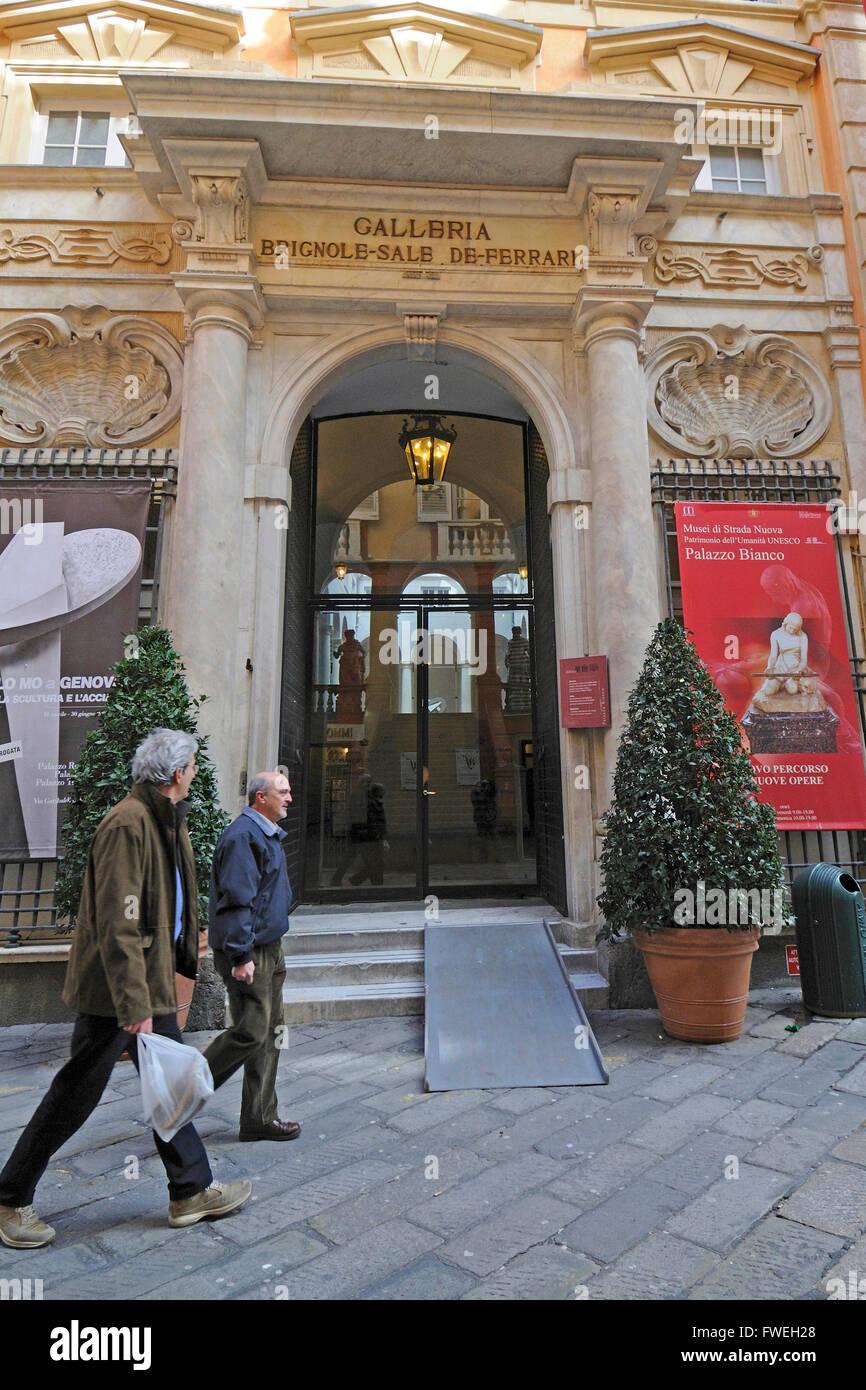 Palazzo Luca Grimaldi, Strada Nuova museum,Palazzo Bianco Palace, Rolli palace Genoa,Ligury - Stock Image