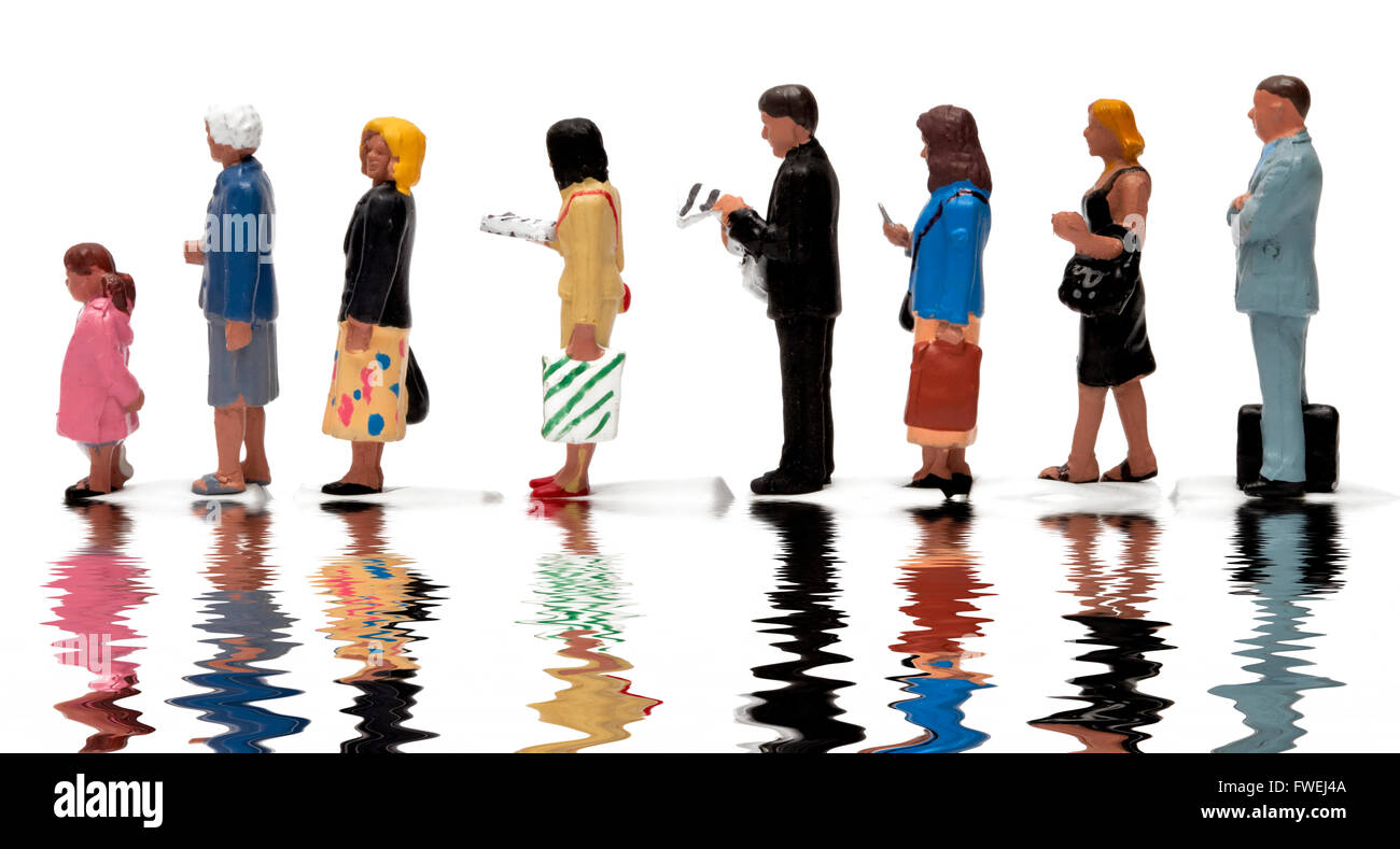 Miniature figurine people forming an orderly queue against a white background digitally reflected. - Stock Image