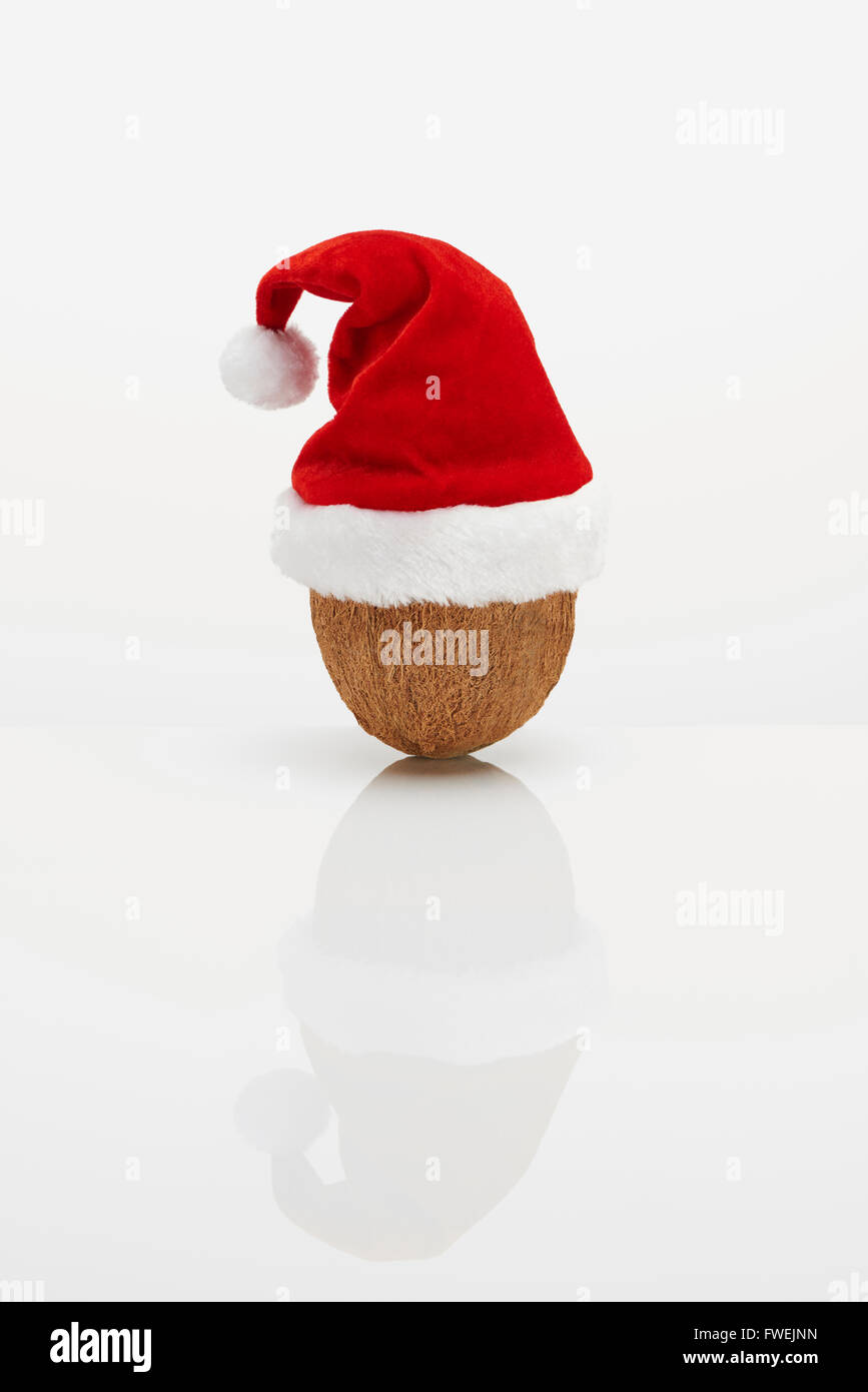 Coconut with Christmas hat Stock Photo