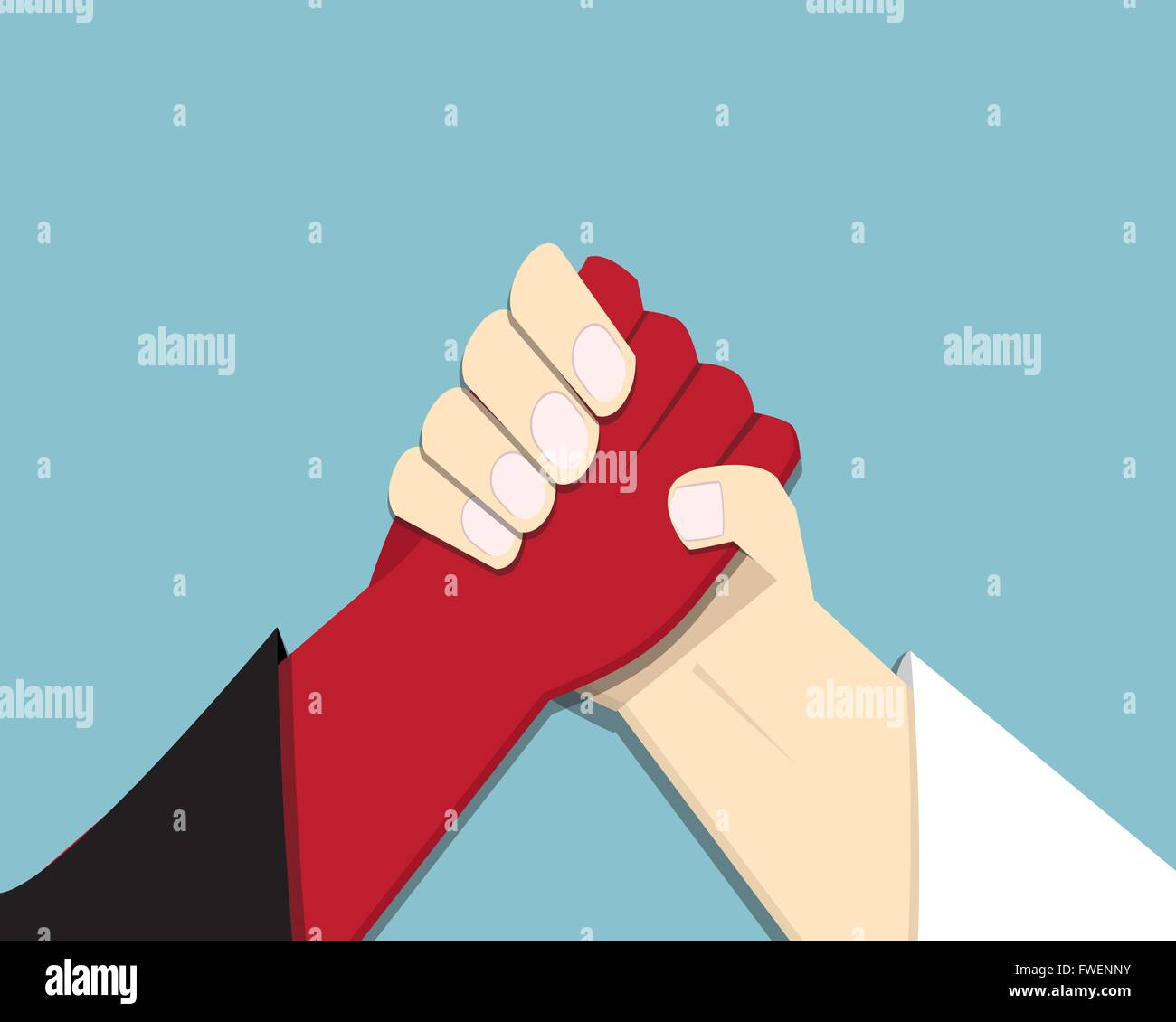 Evil vs God, armwrestling, promise, competition, vector - Stock Image