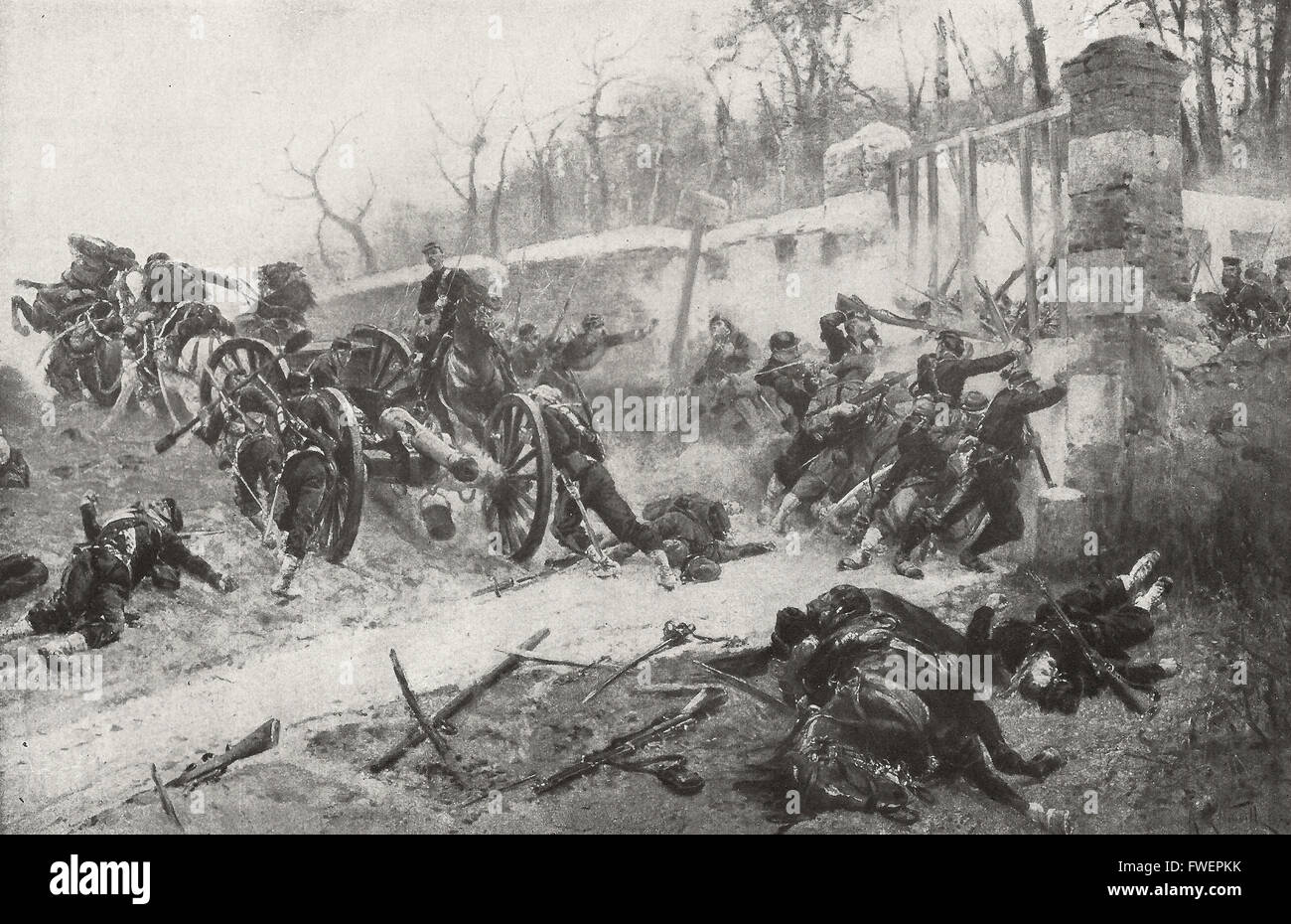 The Defence of the Longboyeau Gate during the Siege of Paris,  Franco - Prussian War, 1870 - 1871. Stock Photo