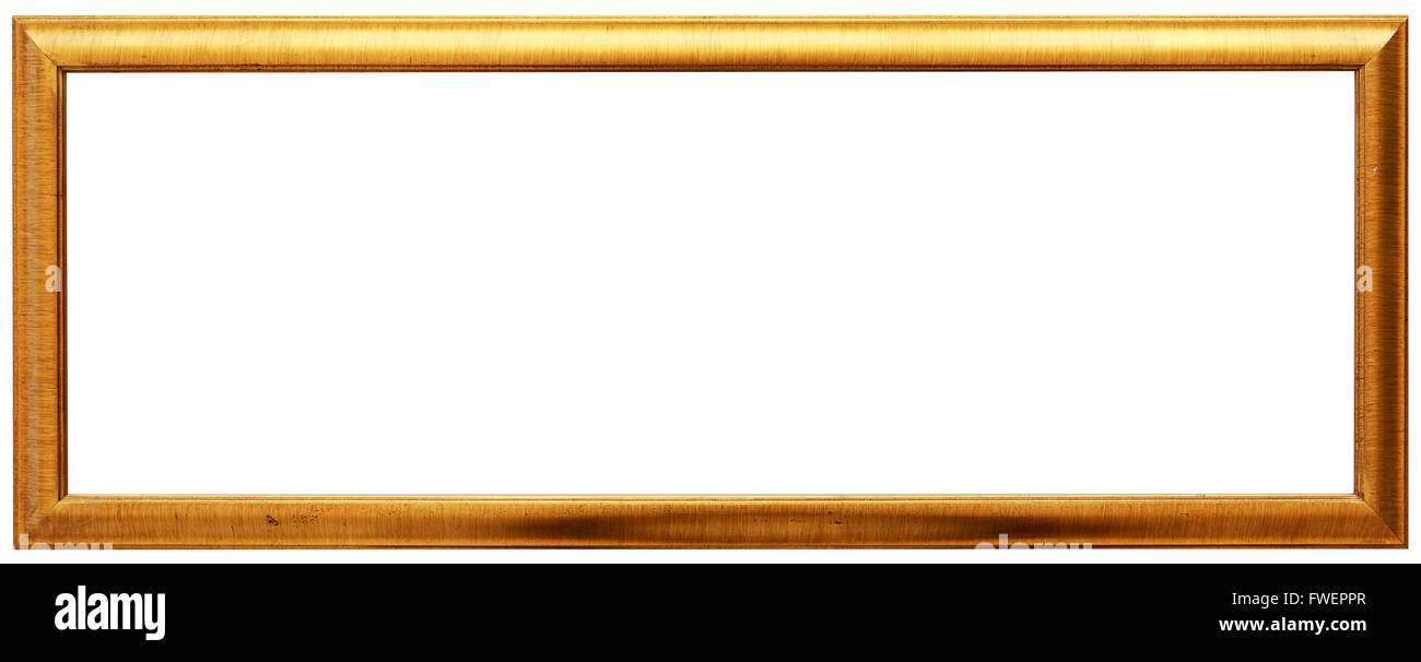 Long golden vintage frame isolated on white. Gold frame louis Stock ...