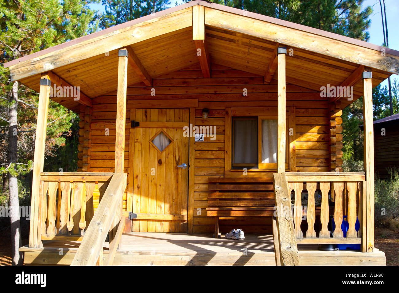cabin camping in the woods. A Rustic Log Cabin Lodge Building In The Woods At An Outdoors Camping Park Facility.