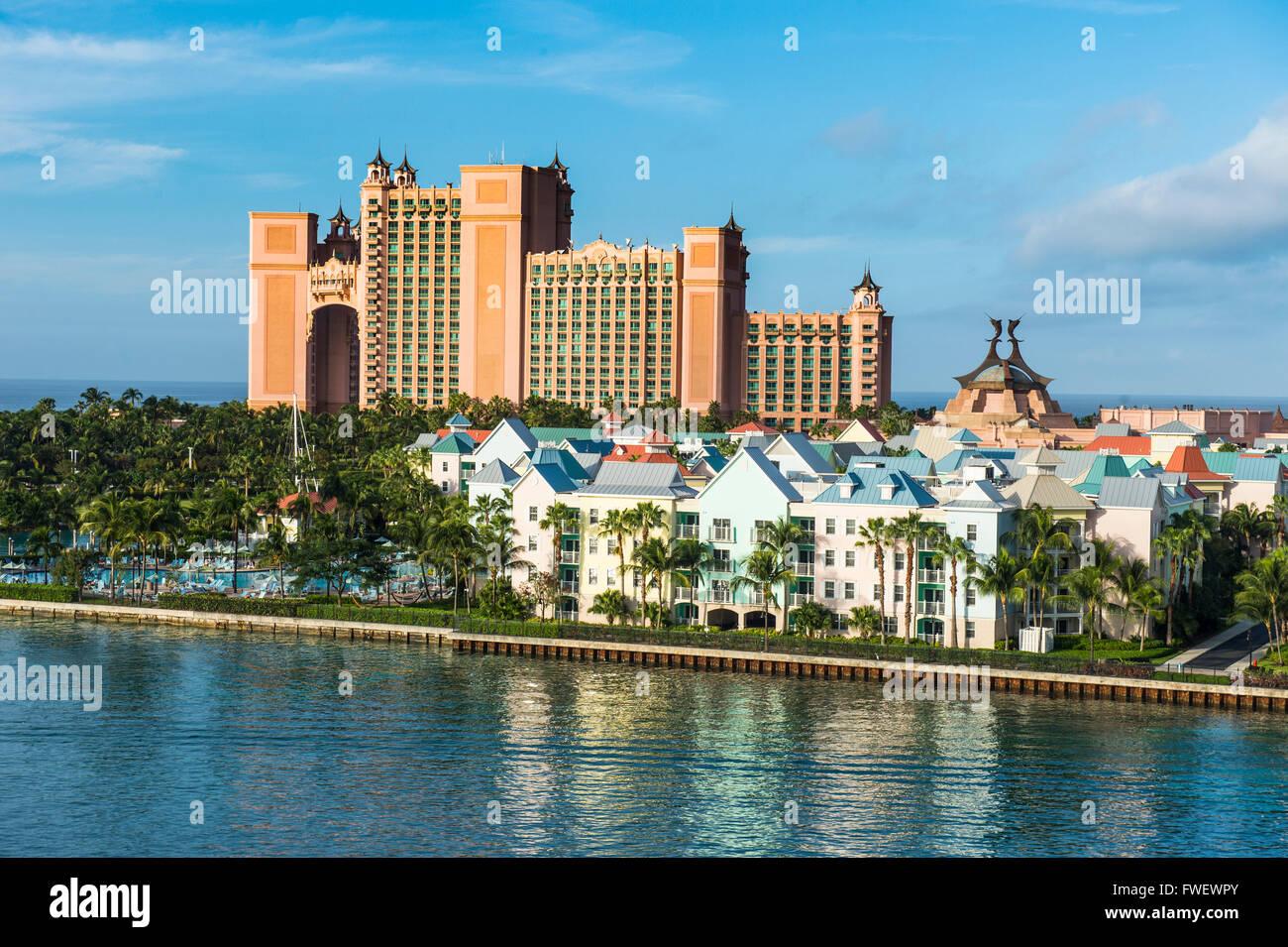 Hotel Atlantis on Paradise island, Nassau, New Providence, Bahamas, Caribbean - Stock Image