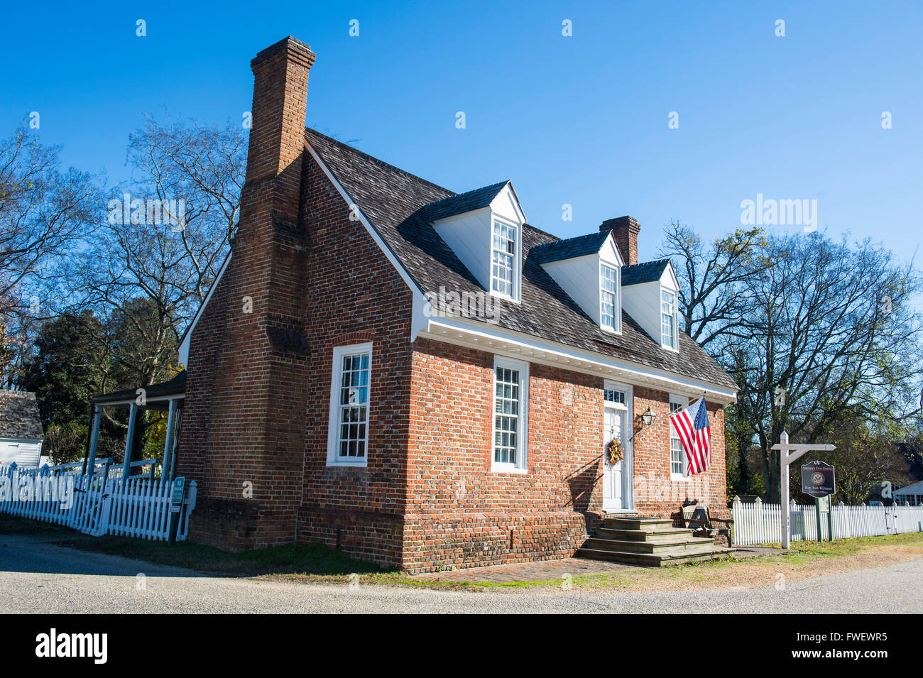 Historical houses in historical Yorktown, Virginia, United States of America, North America - Stock Image
