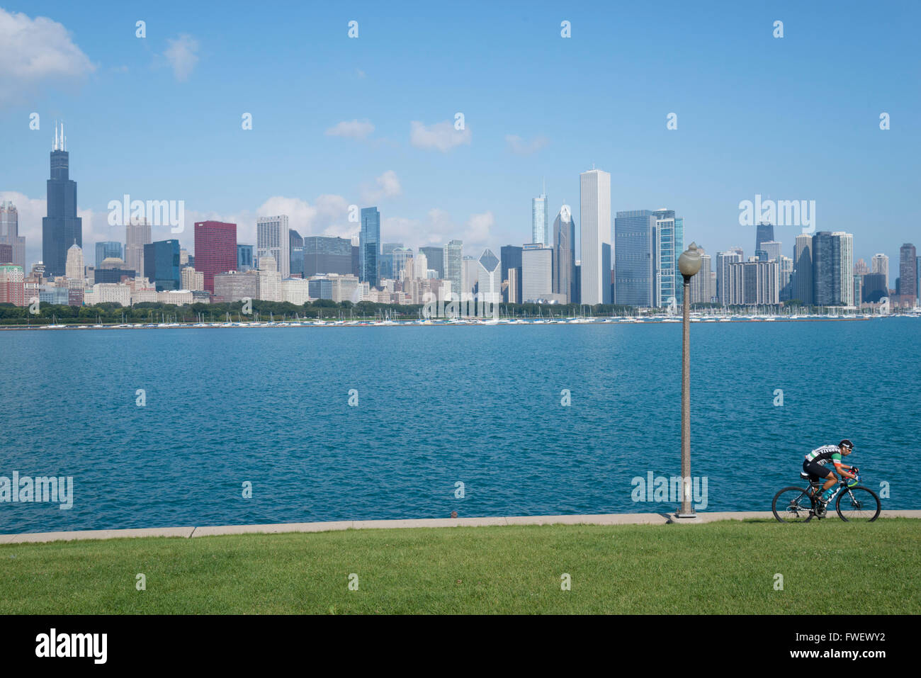 Chicago skyline from the Planetarium, Lake Michigan, Illinois, United States of America, North America - Stock Image