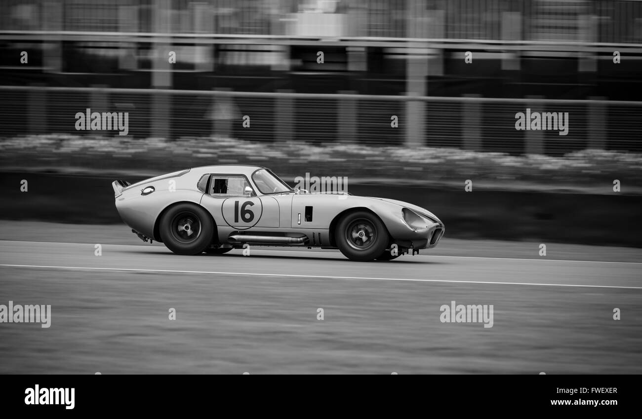 A Shelby Daytona Coupe racing at the 2016 Goodwood Members Meeting. - Stock Image