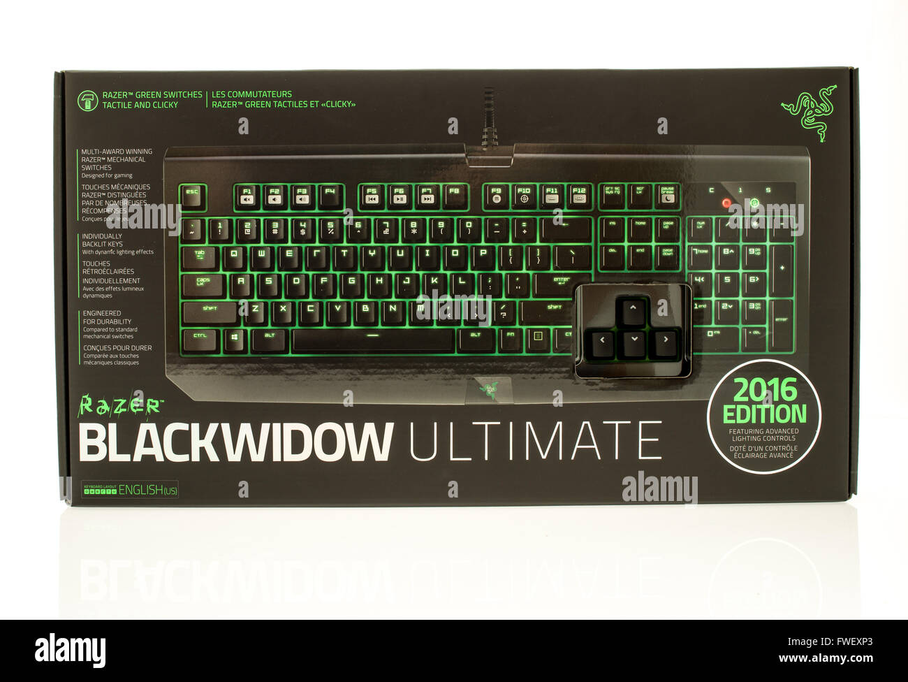 Winneconne, WI - 28 March 2016:  Package fo a Blackwidow utlimate gaming keyboard made by Razer. - Stock Image