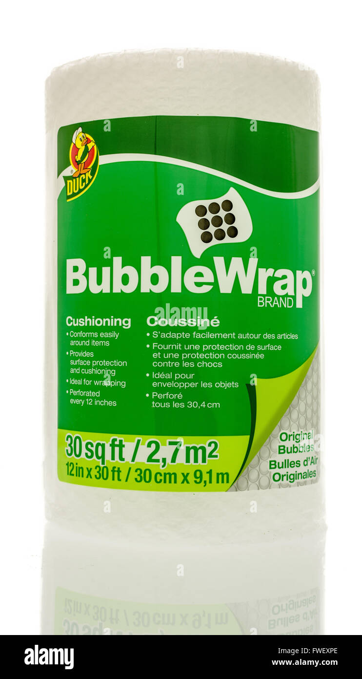 Winneconne, WI - 3 April 2016:  A roll of Bubble Wrap Brand cushioning used for wrapping things to protect them. - Stock Image