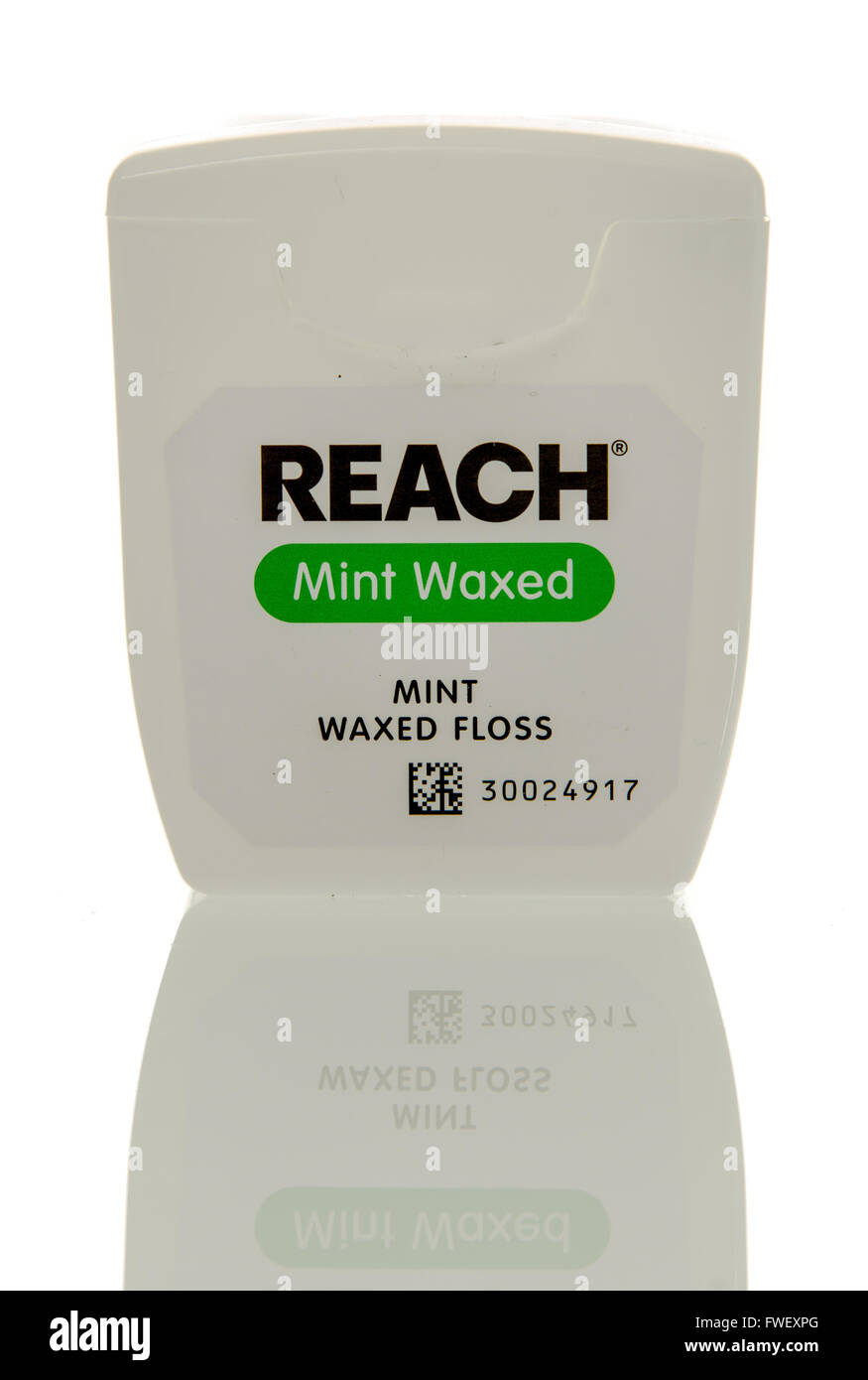 Winneconne, WI - 3 April 2016:  Container of Reach mint waxed waxed dentla floss on an isolated background. - Stock Image