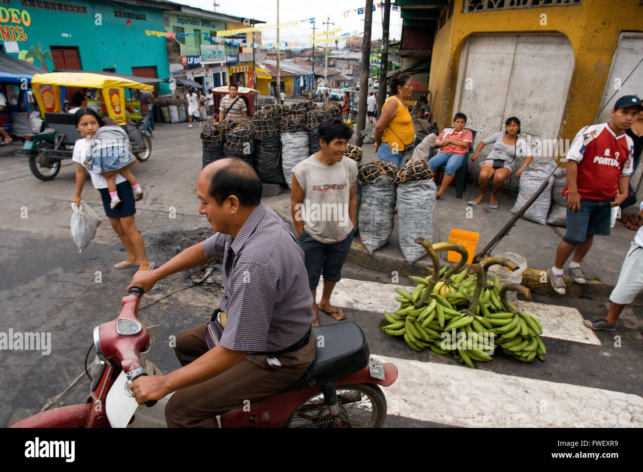 Street scenes, Iquitos, Loreto, the largest city in the Peruvian rainforest and the fifthlargest city of Peru. One - Stock Image