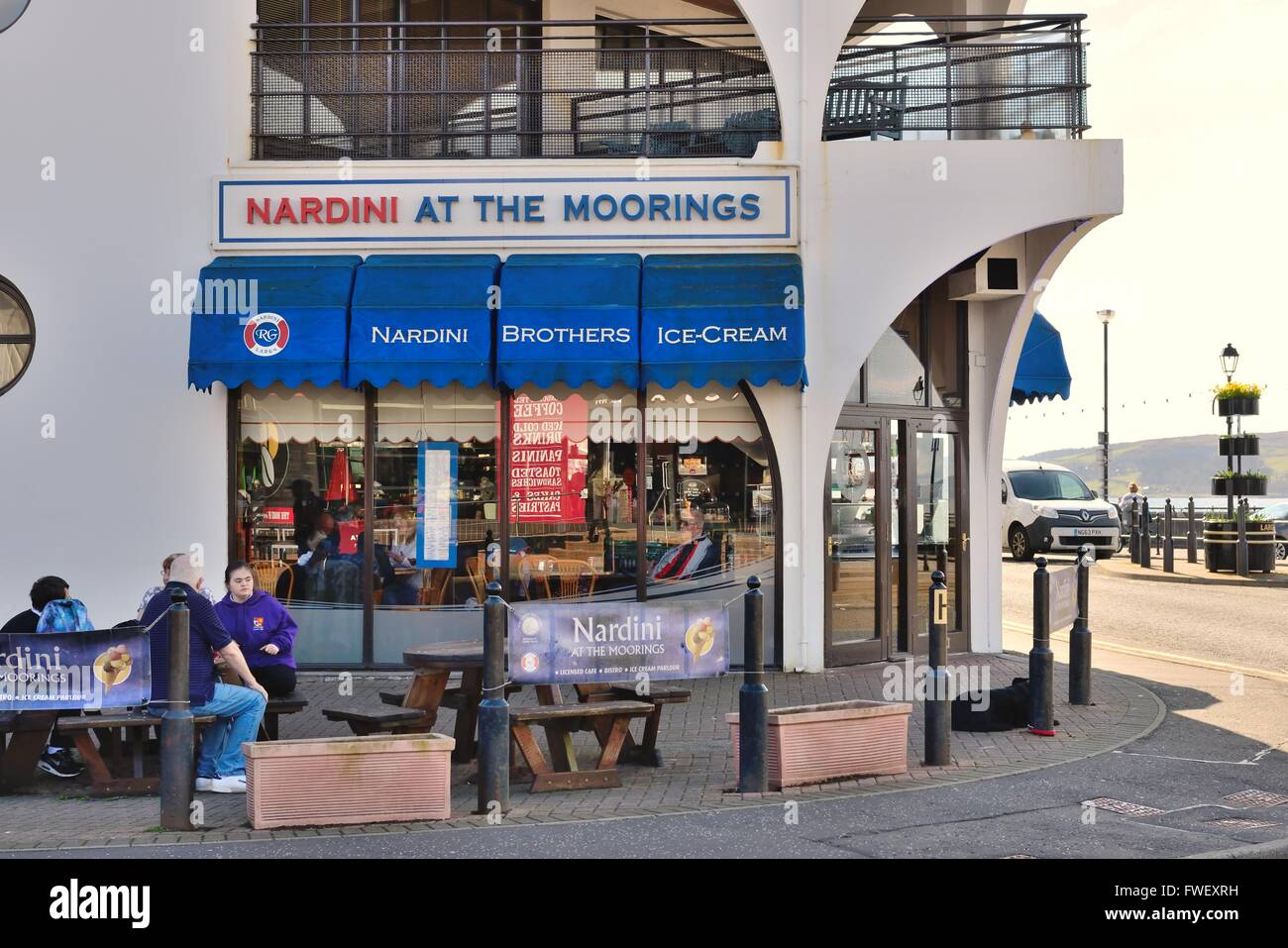 Nardini at the moorings cafe restaurant in Largs, Scotland, UK - Stock Image