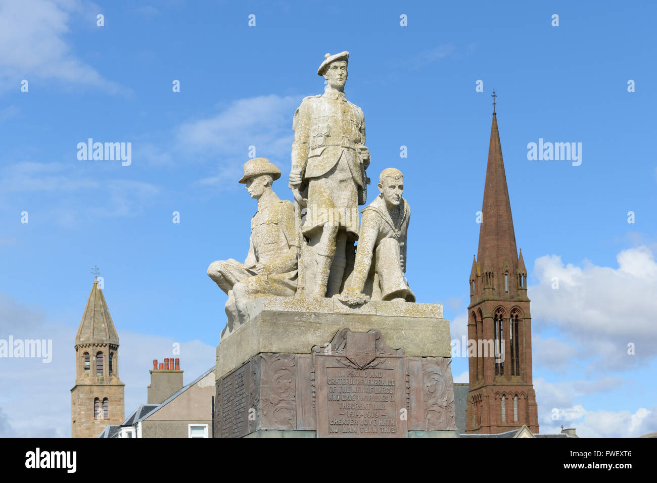 War memorial dedicated to the men from Largs, Scotland, who gave their lives in the Great War of 1914-19. - Stock Image