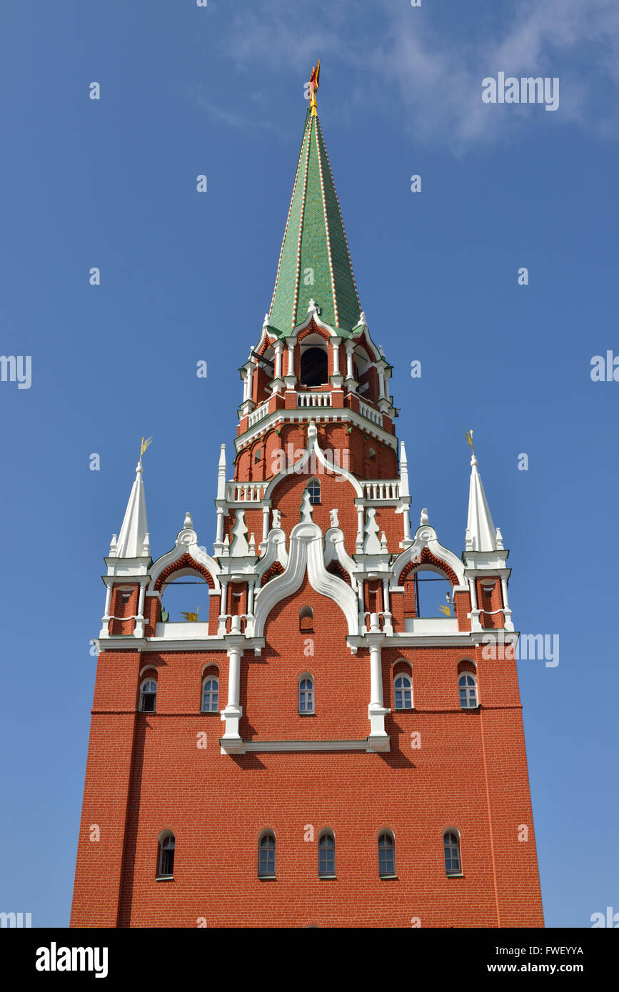 Troitskaya (Trinity) Tower is tower in center of northwestern wall of Moscow Kremlin and was built in 1495 - 1499. - Stock Image