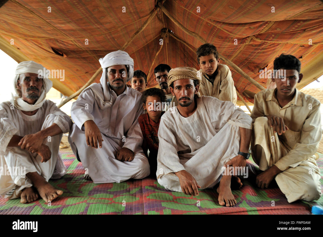 Men, Rashaida camp near Kassala - Stock Image