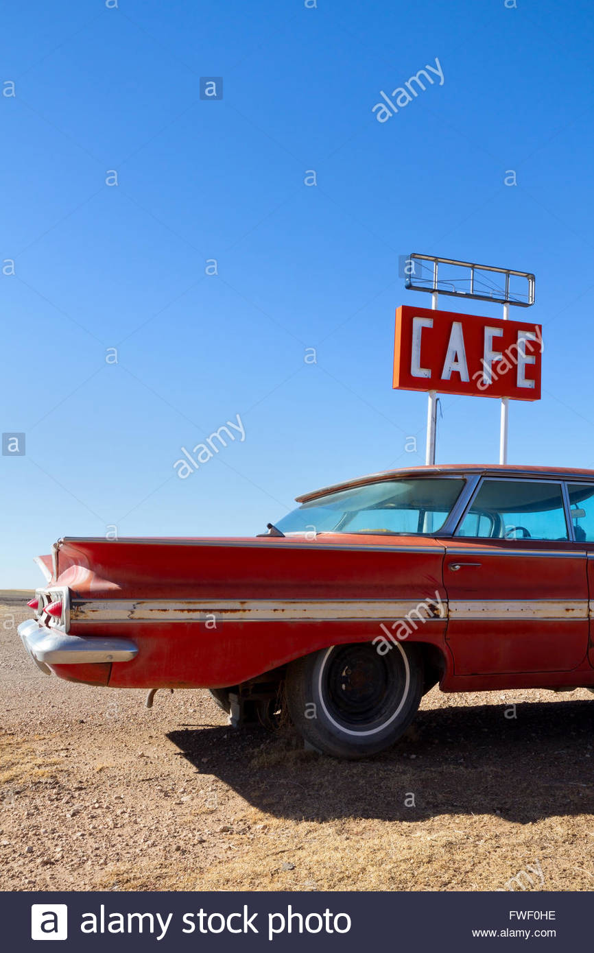 Cafe Sign and Old Car on Historic Route 66 - Stock Image