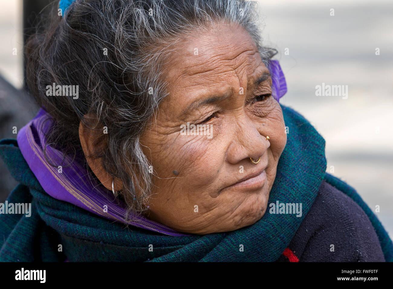 Nepal Kathmandu Swayambhunath Middle Aged Woman With Nose Ring
