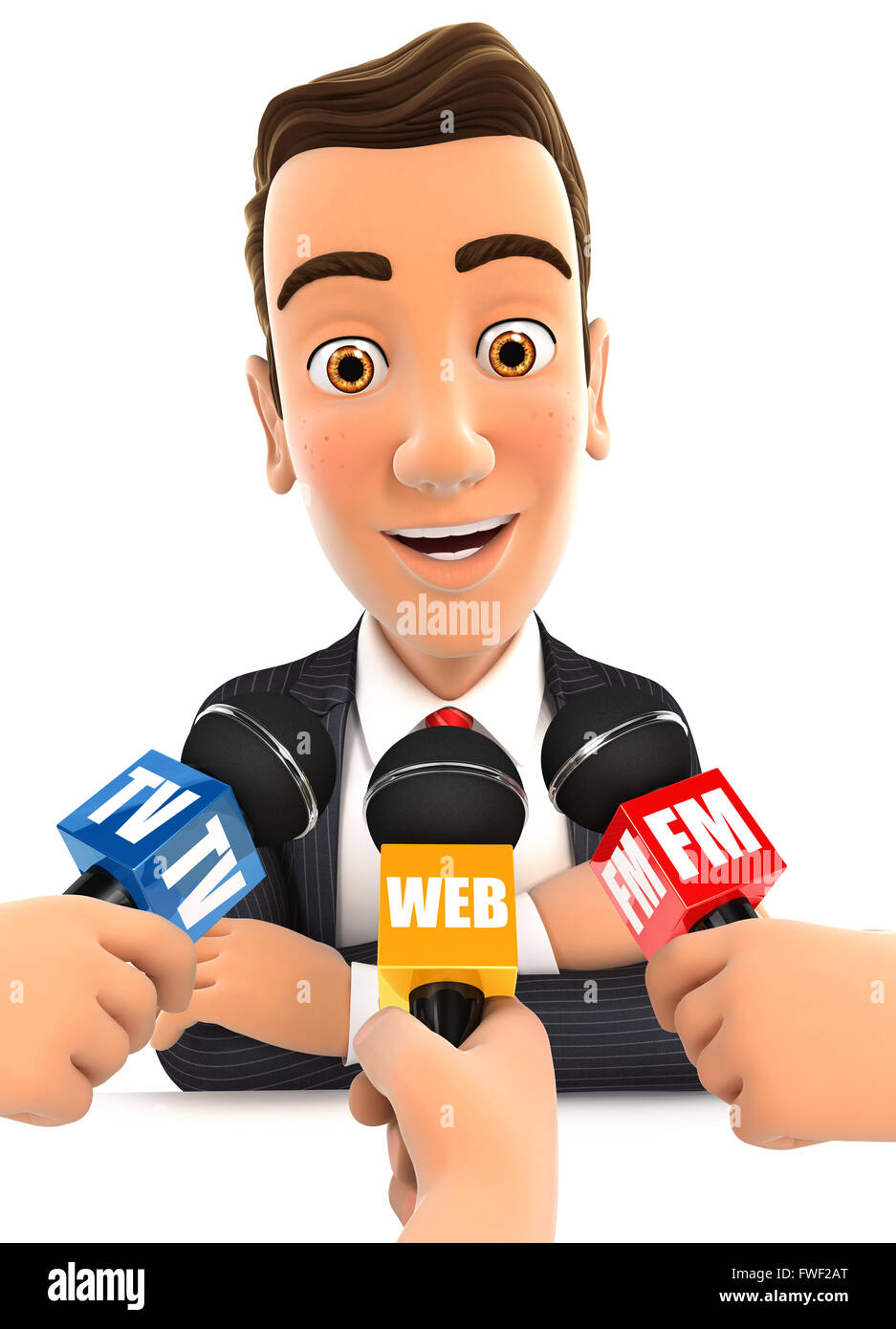 3d businessman being interviewed media, isolated white background Stock Photo
