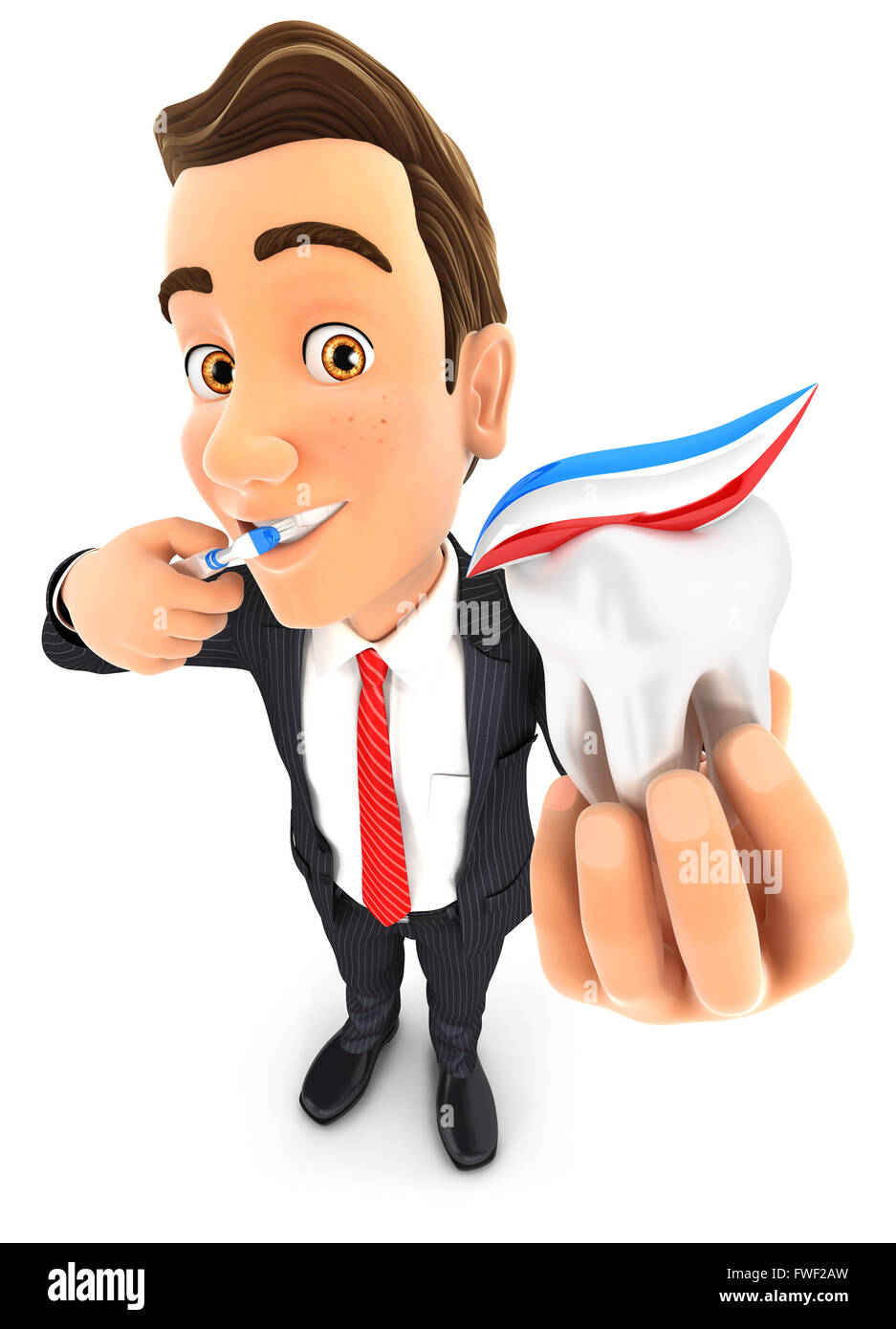 3d businessman brushing his teeth and holding tooth, isolated white background Stock Photo