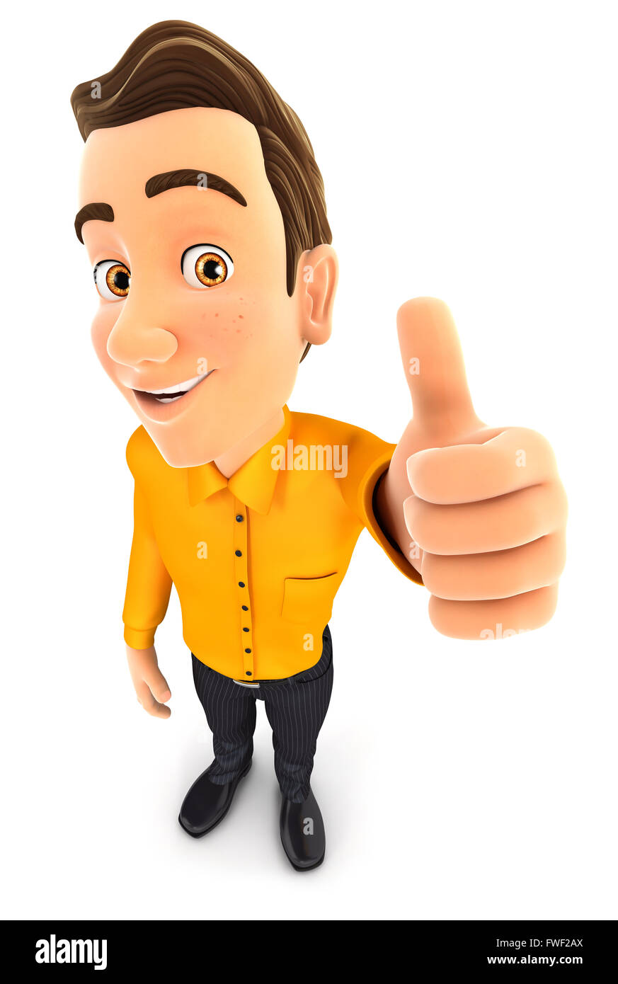 3d man positive pose with thumb up, isolated white background Stock Photo