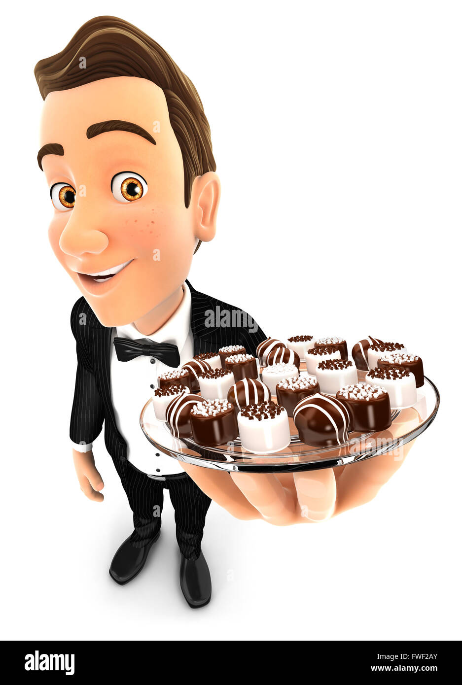 3d waiter holding plate with various chocolates, isolated white background Stock Photo