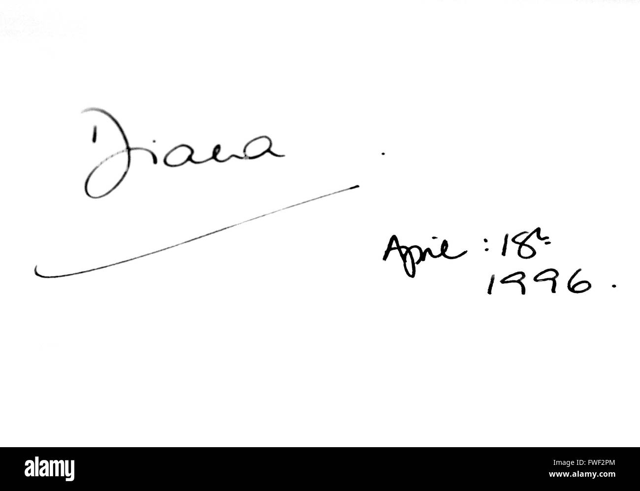 Princess Diana's signature in Madame Tussaud's guestbook at 42nd Street in New York City. USA. please use - Stock Image