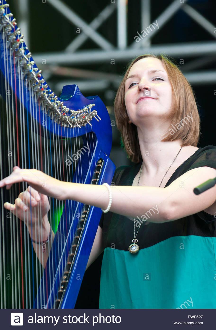 Rachel Newton of The Shee at Fairport's Cropredy festival, UK, 2011. - Stock Image
