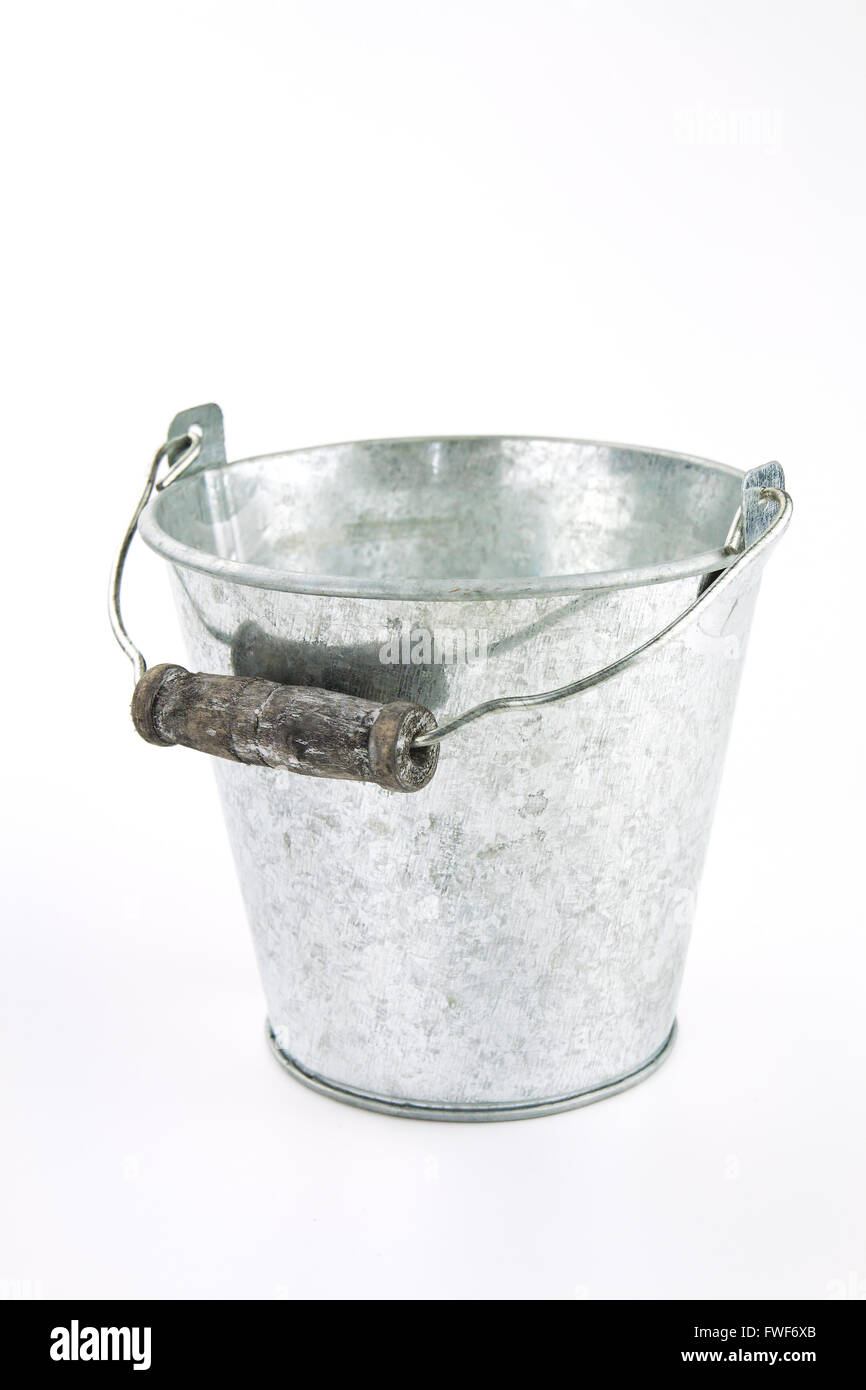 Galvanized empty bucket on a white background - Stock Image