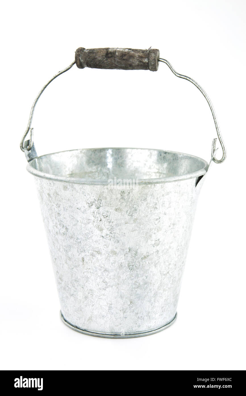 Galvanized empty bucket on a white background - Stock Image