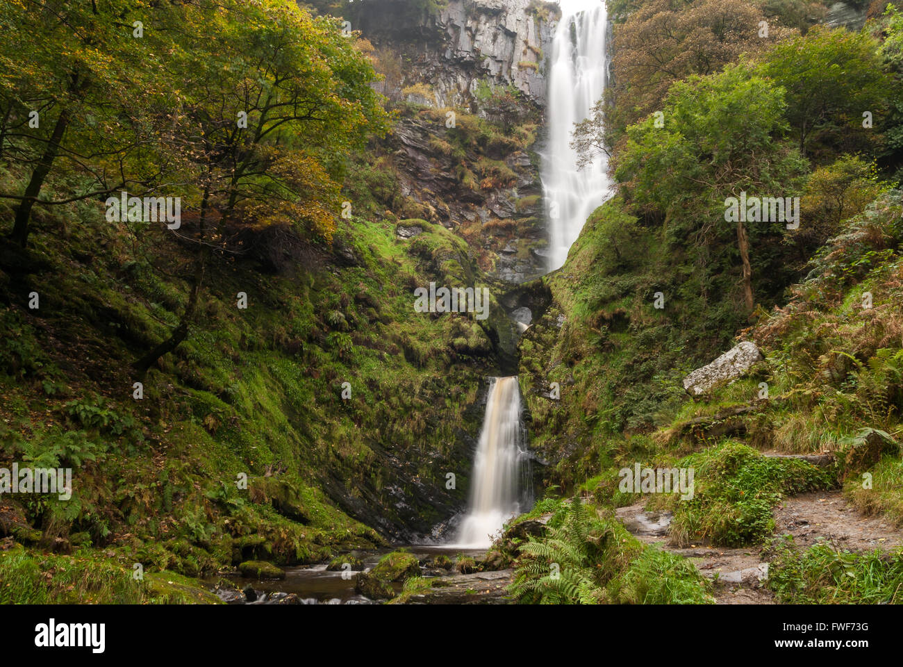 Pistyll Rhaeadr waterfall in Powys Wales one of the Seven Wonders of Wales and a Site of Special Scientific Interest - Stock Image
