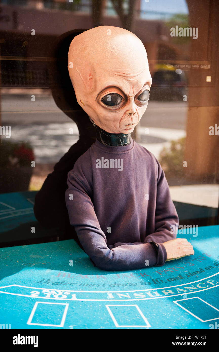 Alien, Martian, spaceman blackjack dealer in the southwest United States - Stock Image