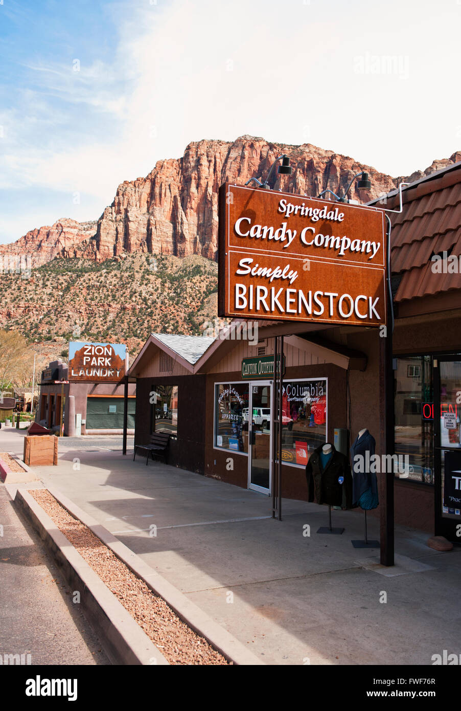 Springdale the gateway town to Zion National Park - Stock Image