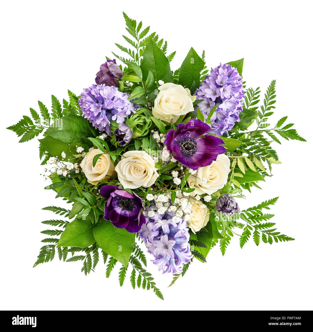 Roses and Hyacinth Flowers Over White Background. Spring Bouquet ...