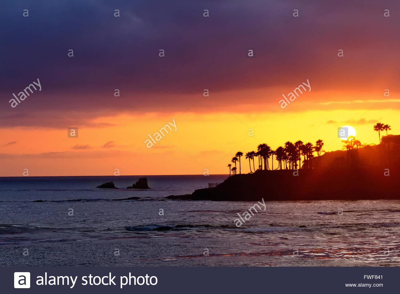 Beautiful Sunset at Laguna Beach, California Stock Photo