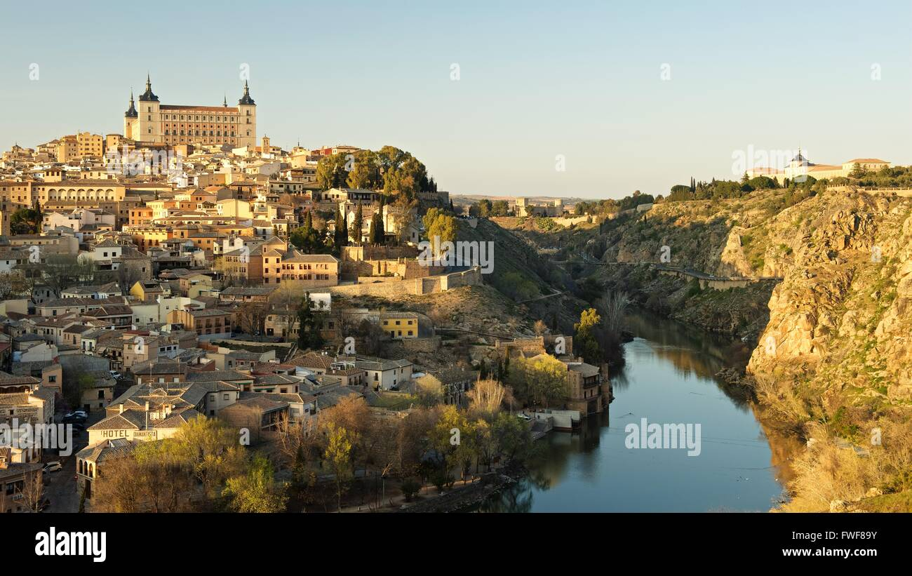 The Alcazar of Toledo and citadel of Toledo in the afternoon golden hour - Stock Image