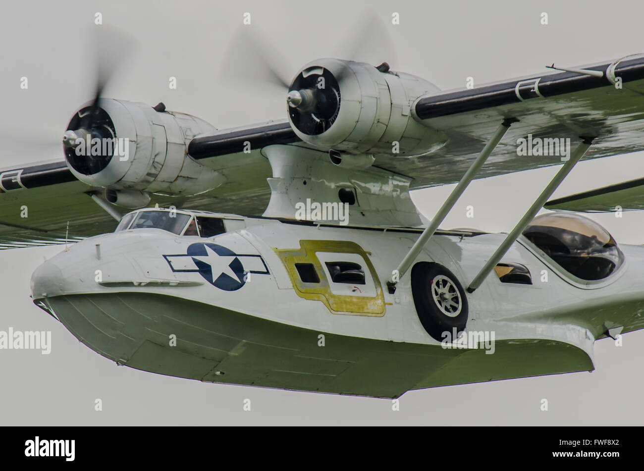 The Consolidated PBY Catalina was an American flying boat, and later an amphibious aircraft of the 1930s and 1940s. - Stock Image