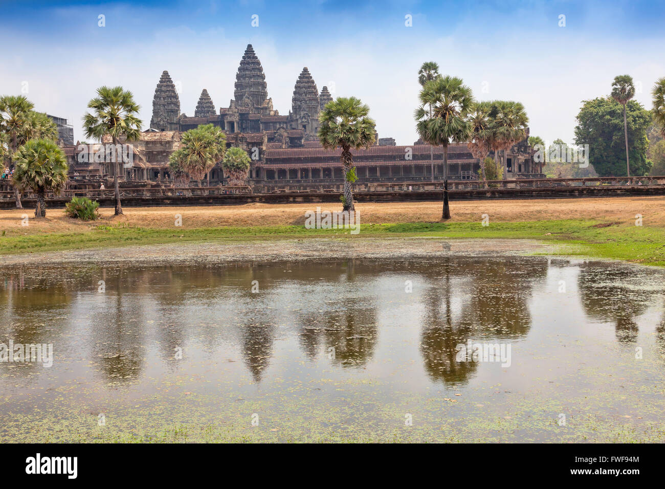PEOPLE at the entrance to Angkor Wat temple in Cambodia UNESCO World Heritage Site, 7th Wonder of the World,Archaeological - Stock Image